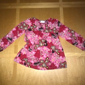 Hanna Andersson Pink & Red Flowy Long Sleeve Shirt